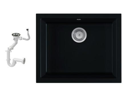 NERO H55-45C Gránit Mosogató + Szifon (matt fekete)