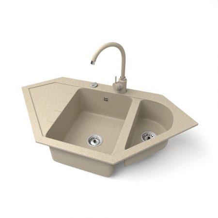 Gránit mosogató NERO Joker + magasított csaptelep + dugókiemelő (bézs)
