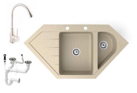 Gránit mosogató NERO Joker + magasított Inox-Line-3 csaptelep + dugókiemelő (bézs)