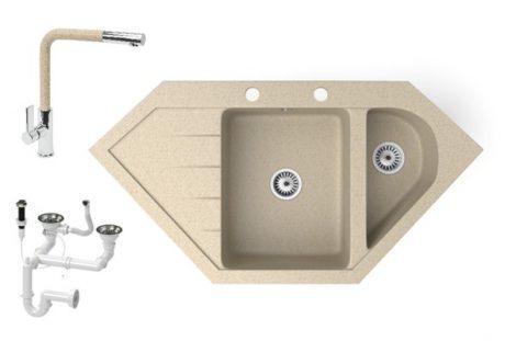 Gránit mosogató NERO Joker + kihúzható Linea csaptelep + dugókiemelő (bézs)