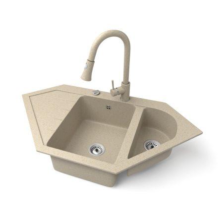 Gránit mosogató NERO Joker + kihúzható zuhanyfejes Snake csaptelep + dugókiemelő (bézs)