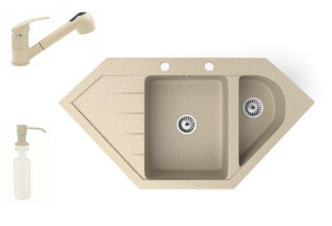 Gránit mosogató NERO Joker + kihúzható zuhanyfejes Shower csaptelep + adagoló (bézs)