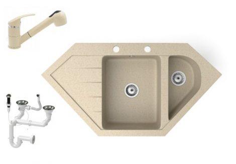 Gránit mosogató NERO Joker + kihúzható zuhanyfejes Shower csaptelep + dugókiemelő (bézs)