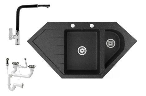 Gránit mosogató NERO Joker + kihúzható Linea csaptelep + dugókiemelő (fekete)