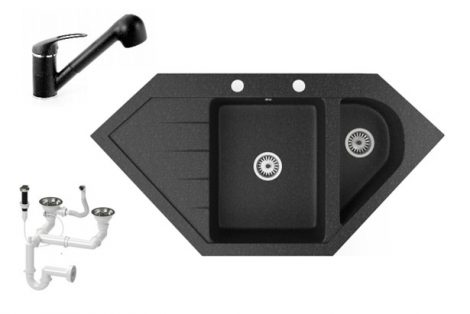 Gránit mosogató NERO Joker + kihúzható zuhanyfejes Shower csaptelep + dugókiemelő (fekete)