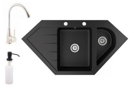Gránit mosogató NERO Joker + magasított Inox-Line-3 csaptelep + adagoló (matt fekete)