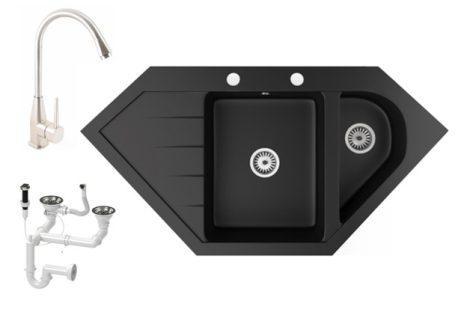 Gránit mosogató NERO Joker + magasított Inox-Line-3 csaptelep + dugókiemelő (matt fekete)