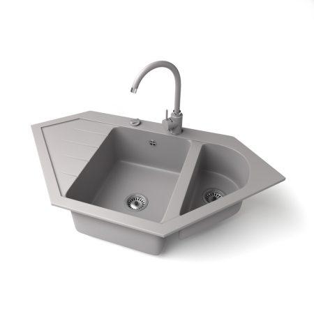 Gránit mosogató NERO Joker + magasított csaptelep + dugókiemelő (szürke)
