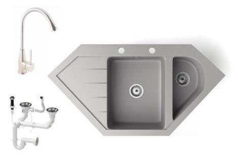 Gránit mosogató NERO Joker + magasított Inox-Line-3 csaptelep + dugókiemelő (szürke)