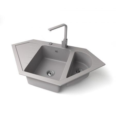 Gránit mosogató NERO Joker + Design csaptelep + dugókiemelő (szürke)