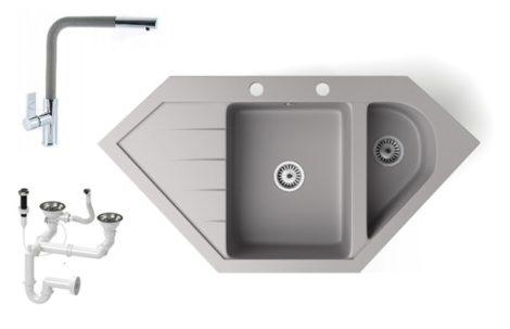 Gránit mosogató NERO Joker + kihúzható Linea csaptelep + dugókiemelő (szürke)