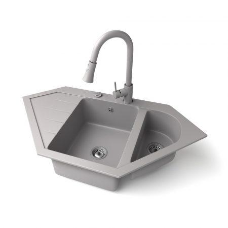 Gránit mosogató NERO Joker + kihúzható zuhanyfejes Snake csaptelep + dugókiemelő (szürke)