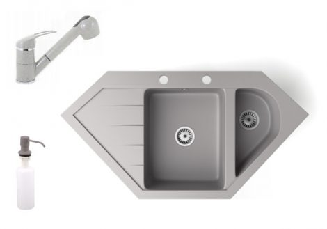 Gránit mosogató NERO Joker + kihúzható zuhanyfejes Shower csaptelep + adagoló (szürke)