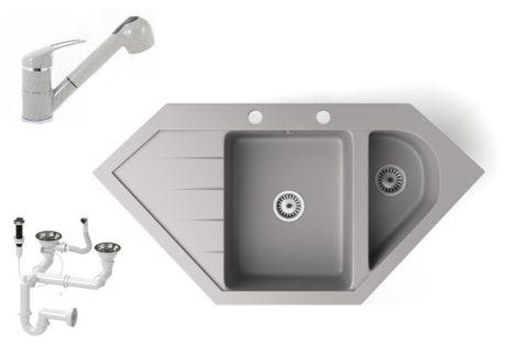 Gránit mosogató NERO Joker + kihúzható zuhanyfejes Shower csaptelep + dugókiemelő (szürke)
