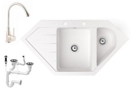 Gránit mosogató NERO Joker + magasított Inox-Line-3 csaptelep + dugókiemelő (fehér)