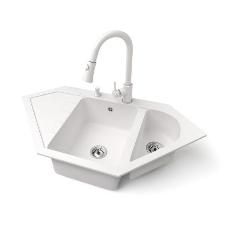 Gránit mosogató NERO Joker + kihúzható zuhanyfejes Snake csaptelep + adagoló (fehér)