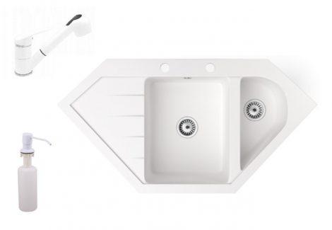 Gránit mosogató NERO Joker + kihúzható zuhanyfejes Shower csaptelep + adagoló (fehér)