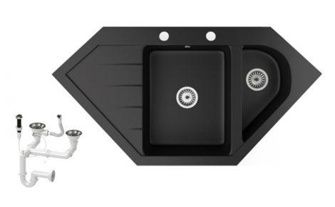 Gránit mosogató NERO Joker + dugókiemelő (matt fekete)