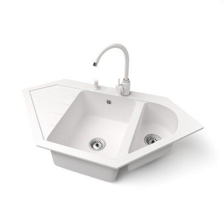 Gránit mosogató NERO Joker + magasított csaptelep + adagoló (fehér)