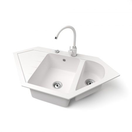 Gránit mosogató NERO Joker + magasított csaptelep + dugókiemelő (fehér)