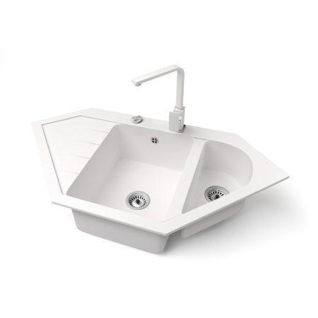 Gránit mosogató NERO Joker + Design csaptelep + dugókiemelő (fehér)
