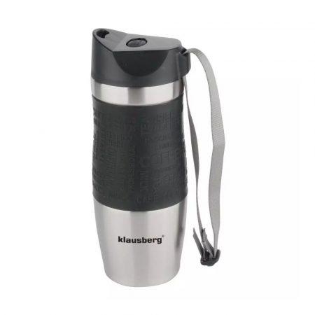Klausberg utazó bögre 380ml - fekete / inox (KB-7101C)
