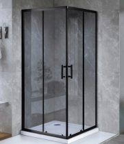 ARBO Glass zuhanykabin elhúzható ajtóval - 80 x 80 cm - fekete profil / füstüveg