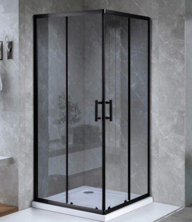 ARBO Glass zuhanykabin elhúzható ajtóval - 90 x 90 cm - fekete profil / füstüveg