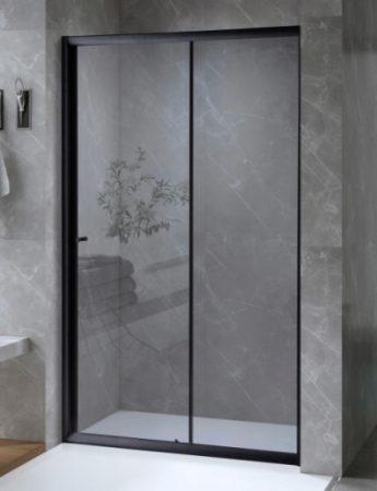 ARBO Glass elhúzható zuhanyajtó (tolóajtó) - fekete - 100 x 195 cm