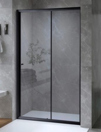 ARBO Glass elhúzható zuhanyajtó (tolóajtó) - fekete - 110 x 195 cm