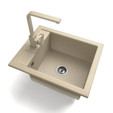 Gránit Mosogató NERO Parma + Design csaptelep + adagoló + szifon (bézs)