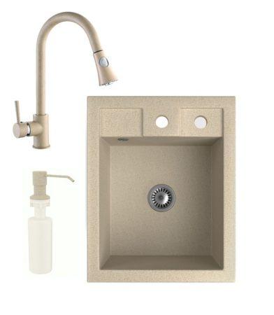 Gránit Mosogató NERO Parma + kihúzható zuhanyfejes Snake csaptelep + adagoló + szifon (bézs)