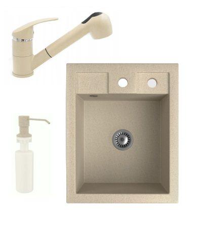 Gránit Mosogató NERO Parma + kihúzható zuhanyfejes Shower csaptelep + adagoló + szifon (bézs)
