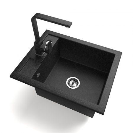 Gránit Mosogató NERO Parma + Design csaptelep + adagoló + szifon (fekete)