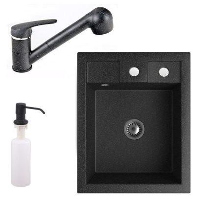 Gránit mosogató NERO Parma + kihúzható zuhanyfejes Shower csaptelep + adagoló + szifon (fekete)