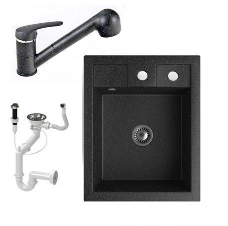 Gránit Mosogató NERO Parma + kihúzható zuhanyfejes Shower csaptelep + dugókiemelő + szifon (fekete)