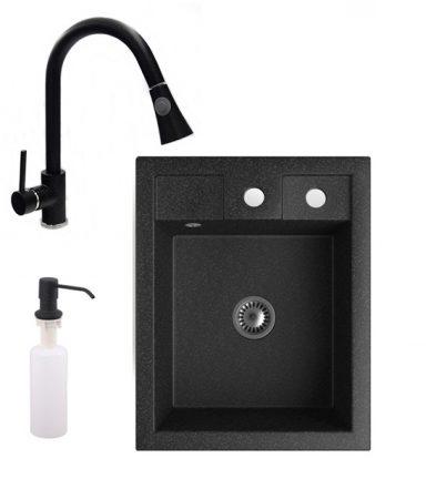 Gránit mosogató NERO Parma + kihúzható zuhanyfejes Snake csaptelep + adagoló + szifon (fekete)