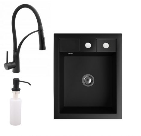 Gránit Mosogató NERO Parma + kihúzható zuhanyfejes Duo-Flex csaptelep + adagoló + szifon (matt fekete)