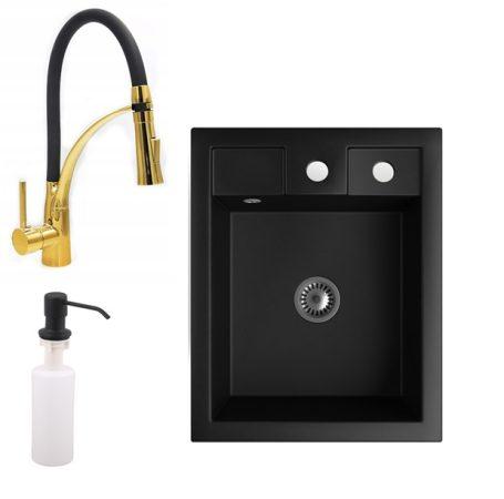 Gránit Mosogató NERO Parma + kihúzható zuhanyfejes Duo-Flex Gold csaptelep + adagoló + szifon (matt fekete)