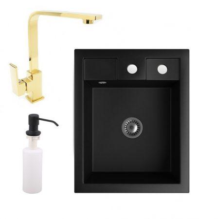 Gránit Mosogató NERO Parma + Design Gold csaptelep + adagoló + szifon (matt fekete)