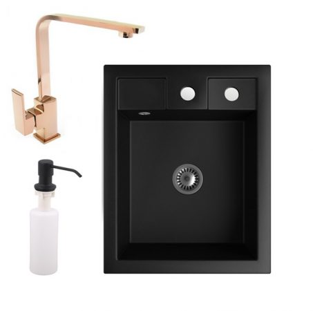 Gránit Mosogató NERO Parma + Design Rose-Gold csaptelep + adagoló + szifon (matt fekete)