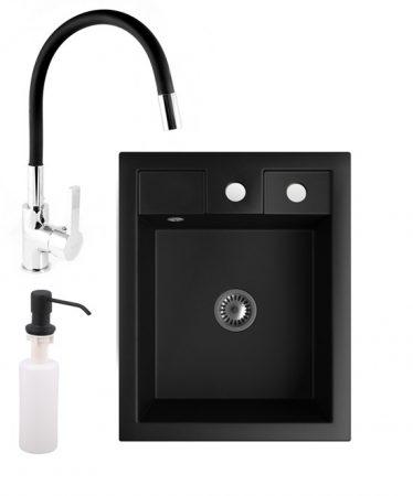 Gránit mosogató NERO Parma + flexibilis csaptelep + adagoló + szifon (matt fekete)