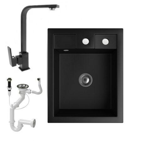 Gránit mosogató NERO Parma + Design csaptelep + dugókiemelő + szifon (matt fekete)