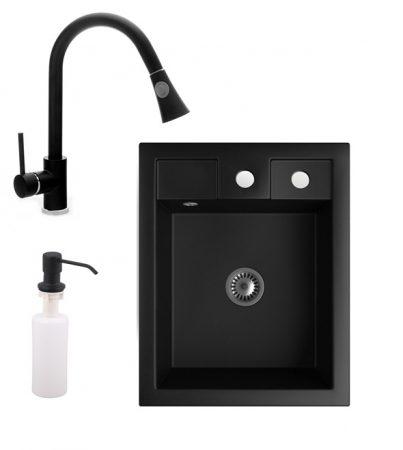Gránit Mosogató NERO Parma + kihúzható zuhanyfejes Snake csaptelep + adagoló + szifon (matt fekete)