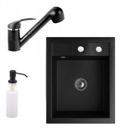 Gránit Mosogató NERO Parma + kihúzható zuhanyfejes Shower csaptelep + adagoló + szifon (matt fekete)