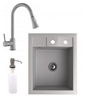 Gránit Mosogató NERO Parma + kihúzható zuhanyfejes Snake csaptelep + adagoló + szifon (szürke)