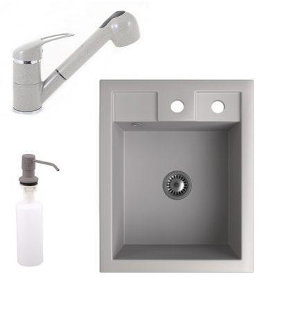 Gránit Mosogató NERO Parma + kihúzható zuhanyfejes Shower csaptelep + adagoló + szifon (szürke)