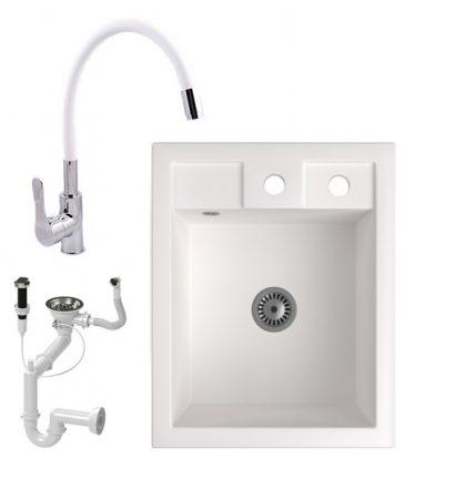 Gránit Mosogató NERO Parma + flexibilis csaptelep + dugóemelő + szifon (fehér)