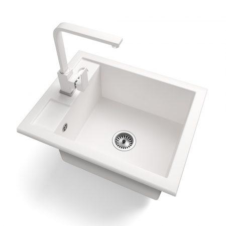 Gránit Mosogató NERO Parma + Design csaptelep + adagoló + szifon (fehér)