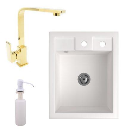 Gránit Mosogató NERO Parma + Design Gold csaptelep + adagoló + szifon (fehér)